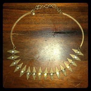 J. Crew Bronzed Jeweled Geometric Necklace